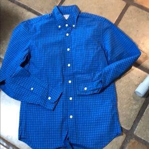 J Crew XS Blue checked button down cotton shirt